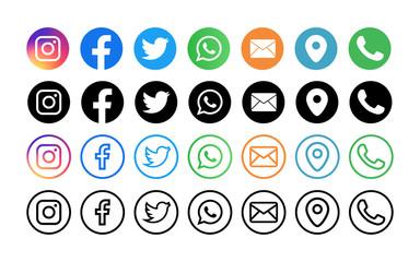 Instagram, facebook, twitter, whatsap, map, sms, phone - Collection of popular social media logo. Editorial vector. Vinnitsa, Ukraine - September 13, 2019
