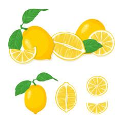 Lemon icon collection, lemon slice. Fresh lemon fruit. Whole lemon, half fresh citrus fruit. Vector illustrations.