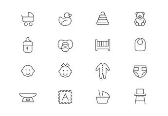 New baby thin line vector icons. Editable stroke
