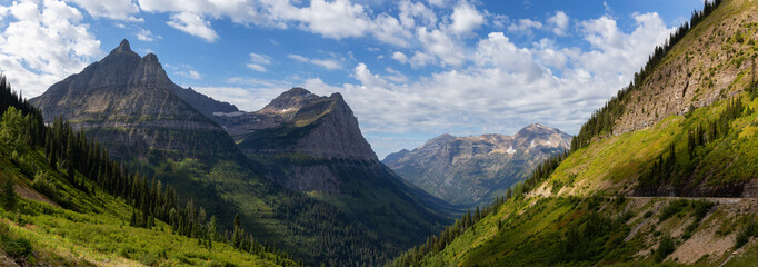 Wall Mural - Beautiful Panoramic View of American Rockies from a viewpoint during a sunny summer day. Taken in Glacier National Park, Montana, United States of America.