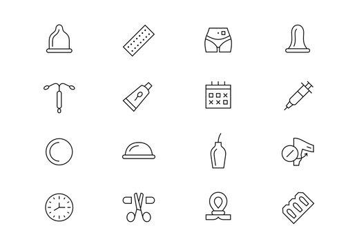 Contraception methods thin line vector icons. Editable stroke