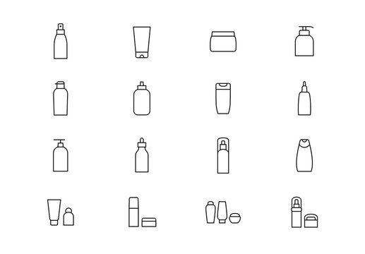 Cosmetics package thin line vector icons. Editable stroke