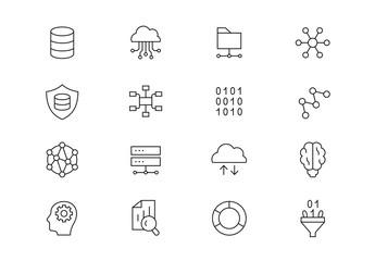 Data science thin line vector icons. Editable stroke