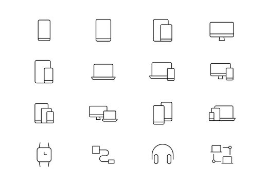 Electronic devices thin line vector icons. Editable stroke
