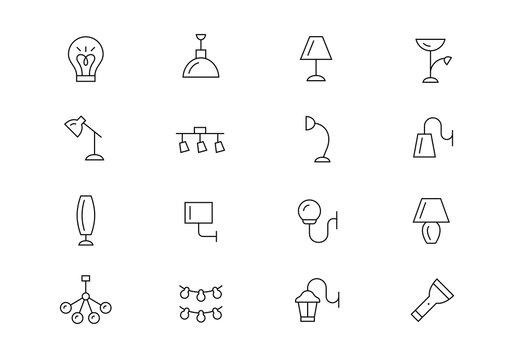 Lighting thin line vector icons. Editable stroke