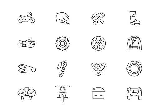 Motorcycle parts and accessories thin line vector icons. Editable stroke