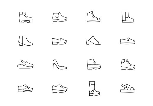 Shoes thin line vector icons. Editable stroke