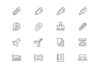 Stationery thin line vector icons. Editable stroke