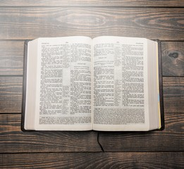 Holy bible book, top view