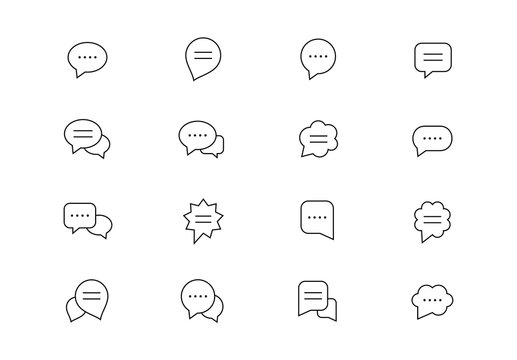 Speech bubbles thin line vector icons. Editable stroke