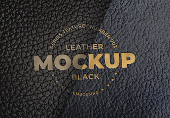 Embossed Black Leather Logo Mockups