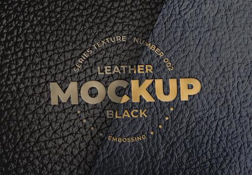 Embossed Black Leather Logo Mockups