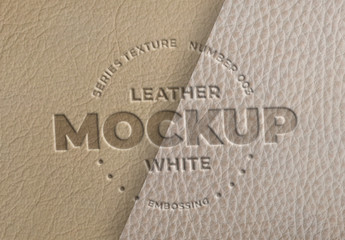 Embossed White Leather Logo Mockups