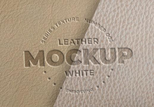 Embossed White Leather Logo Mockups