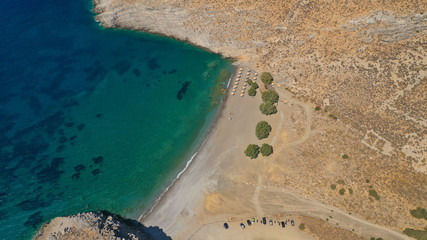 Aerial drone photo of paradise beach of Vatses with emerald clear sea, Astypalaia island, Dodecanese, Greece