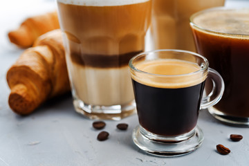 Coffee drink with fresh croissants