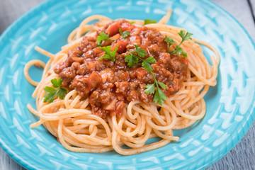 Spaghetti bolognese pasta with beef ragu