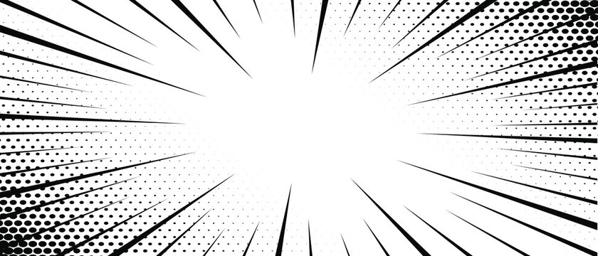 Abstract comic zoom motion lines with halftone background