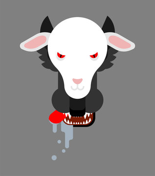 Wolf in sheep's clothing face. vector illustration