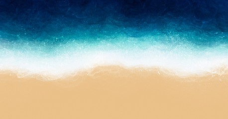 Aerial view beach by watercolor brush painting in brown sand and blue green sea wave for backgrounds or banner in concept relax, vacation, holiday or summer.