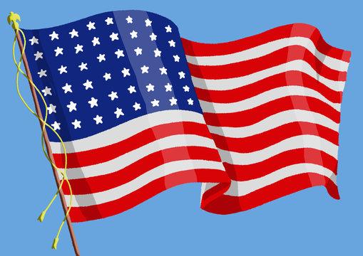 American Flag in 1918 - Original illustration