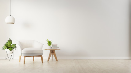 The interior has a armchair on empty white wall background,3D rendering Wall mural