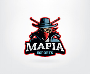 Gangster mascot logo with man in bandana and crossed gun. Man with fedora hats and suits vector. Mafia E Sport Logo Mascot, Mafia, Gangster, Crime. Vector illustration