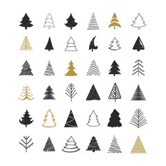 Set of scribble Christmas tree. Collection of Christmas tree shapes draw the hand.  Design elements for Christmas day. Vector Christmas trees. Vector illustration.