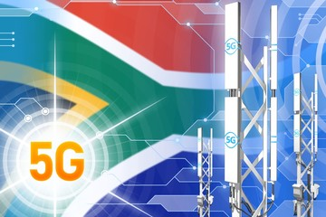 South Africa 5G industrial illustration, big cellular network mast or tower on modern background with the flag - 3D Illustration Wall mural