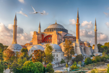 Hagia Sophia in Istanbul, Turkey, wonderful sunny view Wall mural