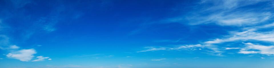Foto auf Leinwand Dunkelblau Panorama sky with cloud on a sunny day. Beautiful cirrus cloud. Panoramic image.