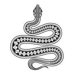 Snake tattoo sketch maori style. Chinese Zodiac snake sighn.