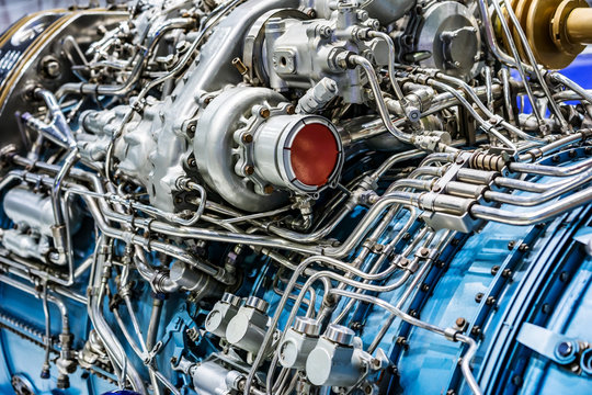 Engine of fighter jet, internal structure with hydraulic. Fuel pipes and other hardware equipment of army aviation and aerospace industry