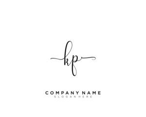 Obraz K P KP Initial handwriting logo vector - fototapety do salonu