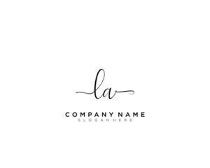 L A LA Initial handwriting logo vector