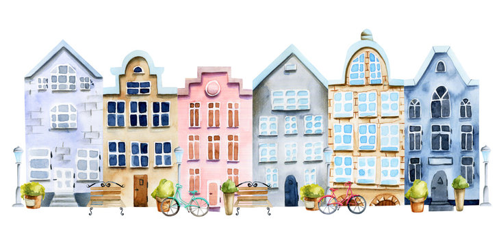 Illustration of street of watercolor scandinavian houses, nordic architecture, hand painted on a white background