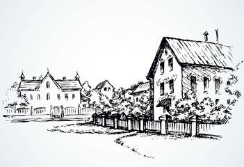 Cozy rural house. Vector sketch Fototapete
