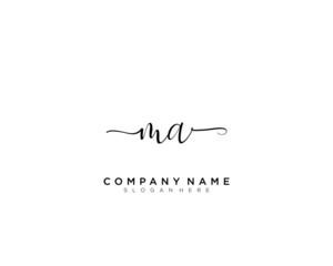 M A MA Initial handwriting logo vector