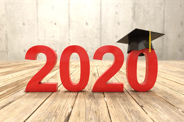 New Year 2019 Creative Design Concept with Graduation cap - 3D Rendered Image