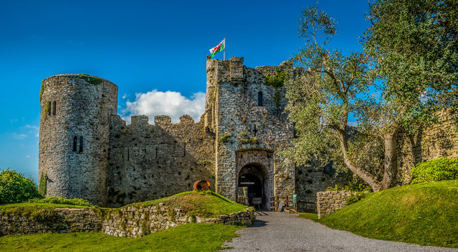 Manorbier Castle, Pembrokeshire, Wales, UK
