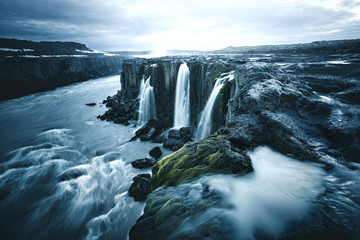 Foto op Canvas Groen blauw Image of famous Selfoss cascade. Location place Vatnajokull National Park, Iceland, Europe.