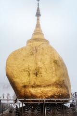 The Kyaikhtiyo Pagoda or Golden Rock in a foggy day - kyaikhtiyo, kyaiktiyo - Burma - Myanmar,