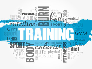 TRAINING word cloud, fitness, sport, health concept background