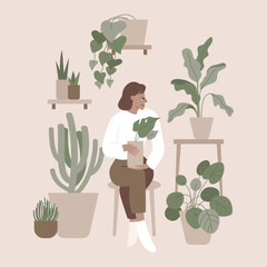 Vector illustration in flat simple style with female character - crazy plant lady, modern poster or print. Stylish girl in scandinavian interior