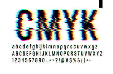 Modern style distorted glitch typeface, mixing blue pink and yellow channel screen defect, uppercase and lowercase letters, only on a light background