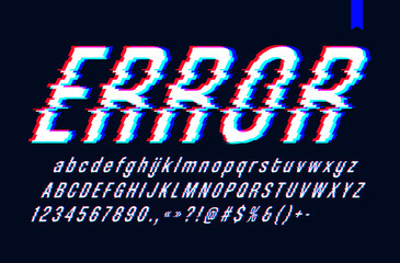 Vector font with glitch effect, Digital distorted stylized tv bug letters and numbers, vector illustration