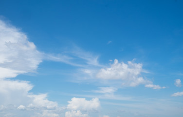 Blue sky and white clouds in bright day landscape background.
