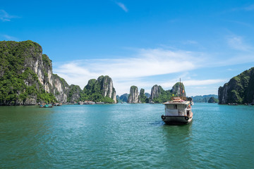 Tourist ferry boat in Halong Bay, the  Unesco world heritage site in Vietnem.