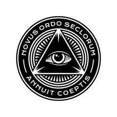 New World Order Symbol with All-Seeing Eye of Providence. Novus Ordo Seclorum