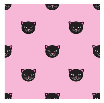 Trendy seamless pattern with cute black cats. For dresses, skirts ,t-shirt, wallpaper, decorative paper and other design.
